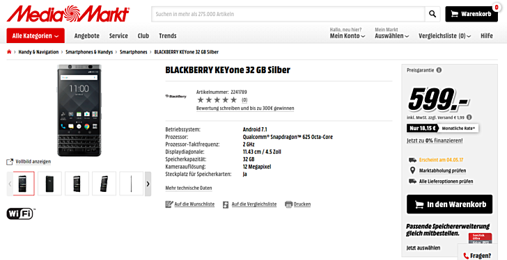 blackberry keyone preorder Germany