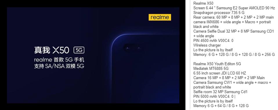 Realme X50 leaked specs