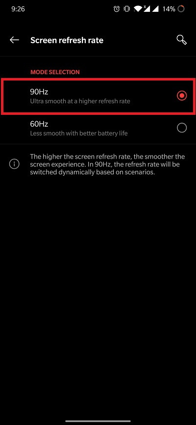 oneplus 8 refresh rate