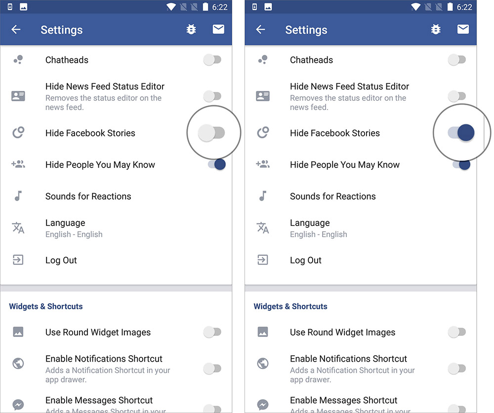 Disable Facebook Stories Feed