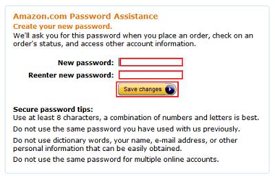 Amazon new password