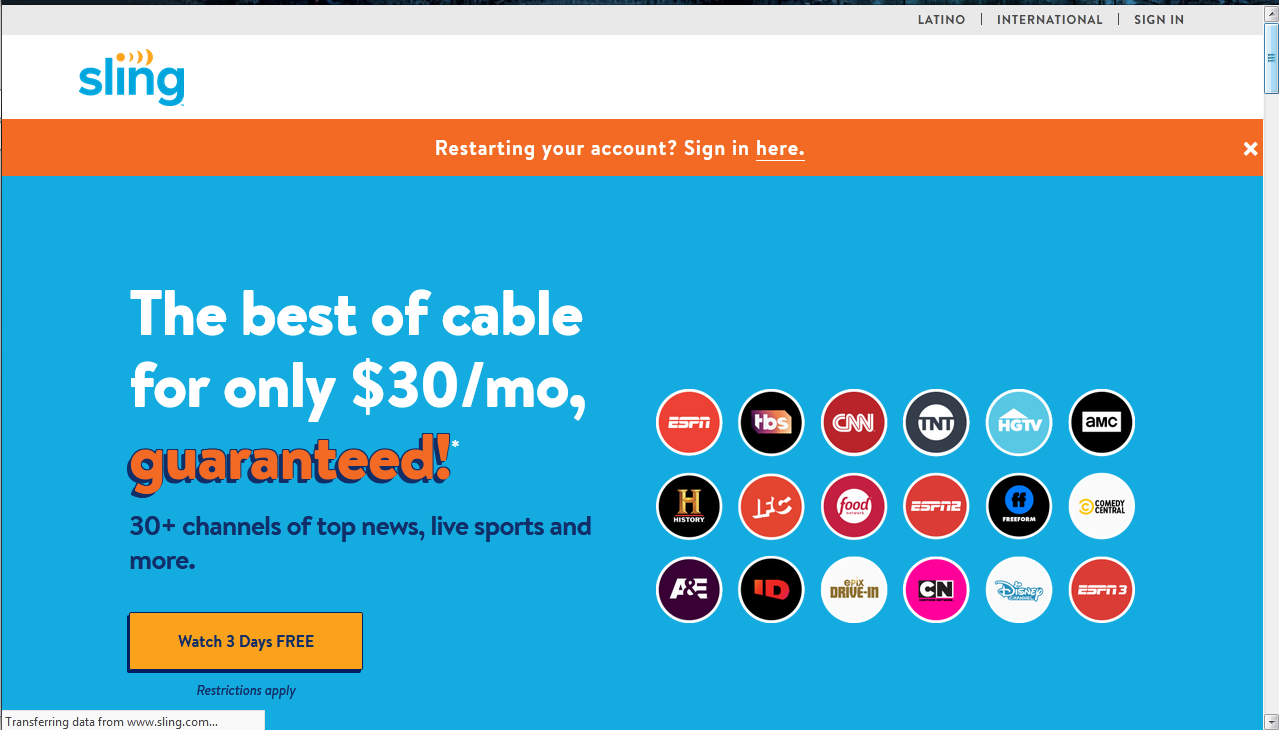 How to get a Sling TV free