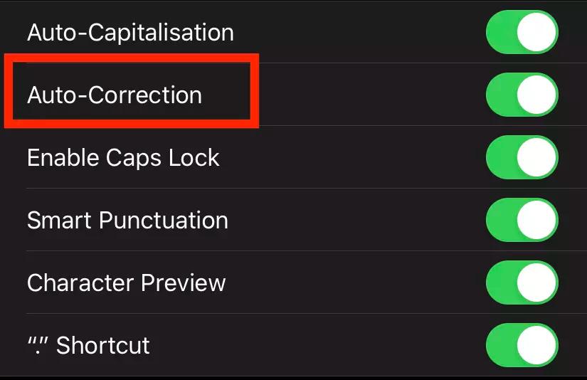 turn off Auto-Correct on iPhone
